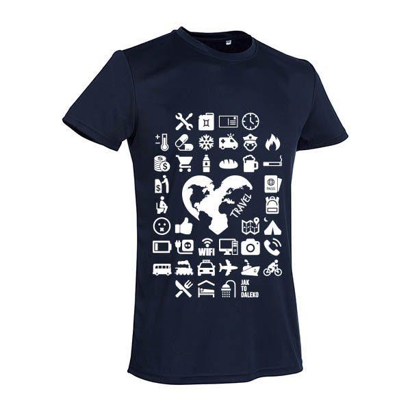 Koszulka podróżnicza - pomoc w komunikacji - ciemna unisex